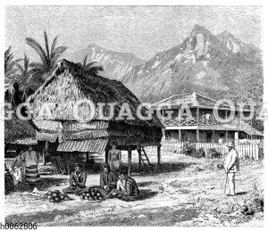 Koprabereitung und Pflanzerwohnung auf den Fidschi-Inseln