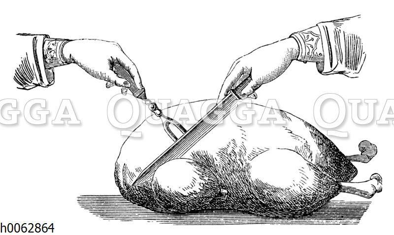 Tranchieren eines gebratenen Truthahns