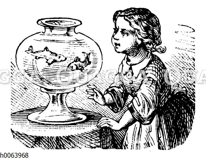 Mädchen mit Goldfischglas