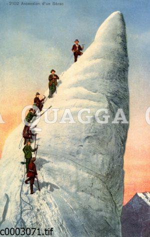 Bergsteiger beim Besteigen eines Eisturms