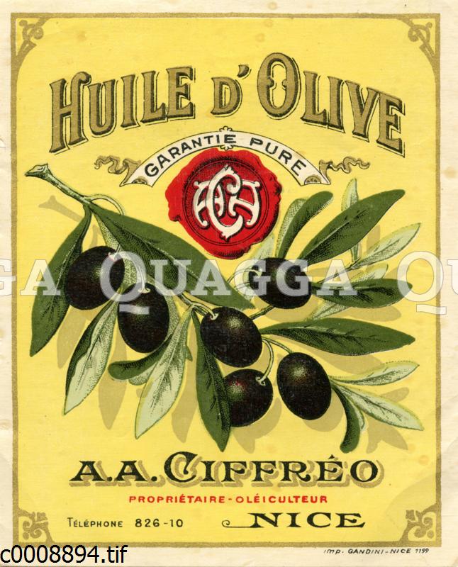 Etikett für Olivenöl