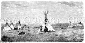 Indianerdorf im Nordwesten Amerikas