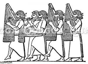 Tragbare assyrische Harfen