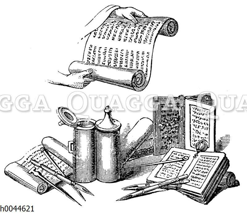 Orientalische Schreibgeräte und Bücherrollen
