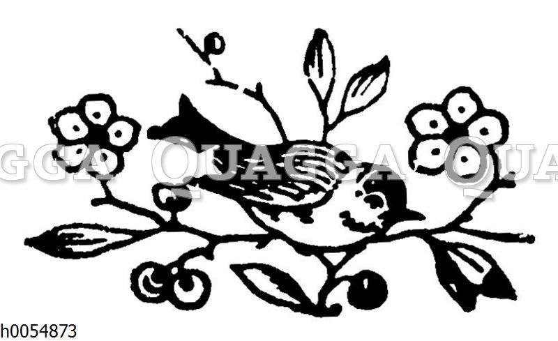 Vignette: Vögelchen und Blumen