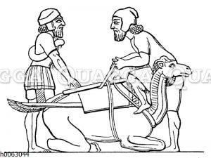 Beladen eines Kameles bei den Assyrern
