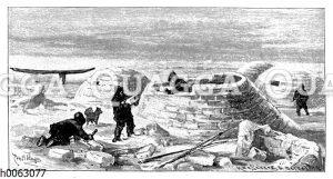 Iglu-Bau bei den amerikanischen Eskimo