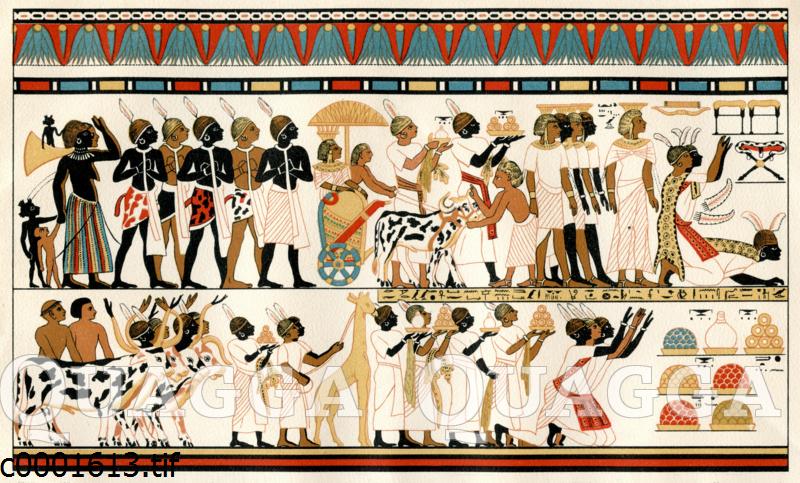 Altägyptische Malerei. Nubische Häuptlinge bringen dem ägyptischen König ihre Geschenke