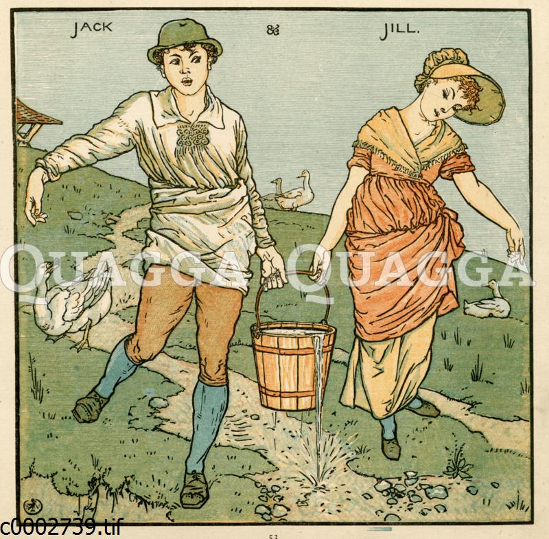 Mann und Frau tragen einen Wassereimer