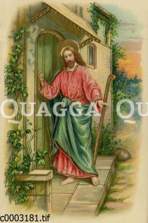 Jesus mit Hirtenstab klopft an eine Haustür