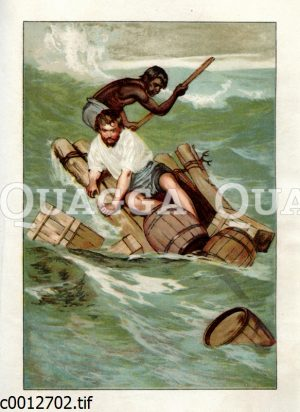 Robinson Crusoe und Freitag unterwegs mit einem Floß