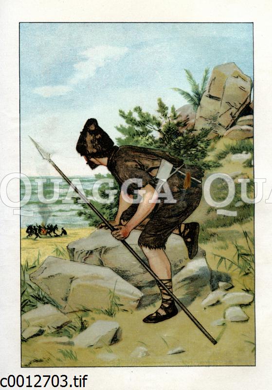 Robinson Crusoe entdeckt Kannibalen auf seiner Insel