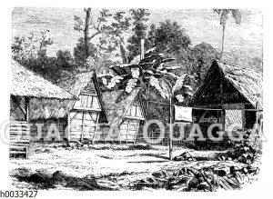 Häuser auf Java mit Rohrgeflecht