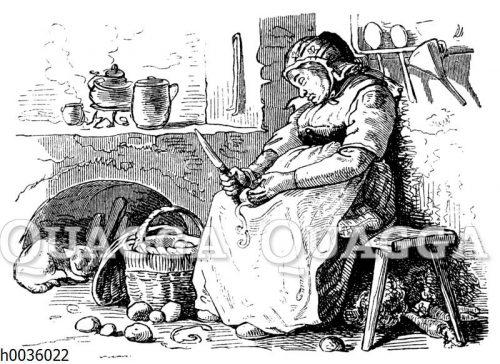 Frau beim Schälen von Kartoffeln eingeschlafen