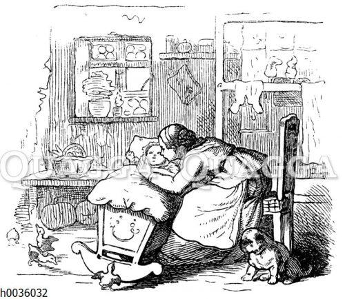 Mutter mit Kind in der Wiege