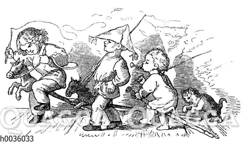 Jungen spielen Soldaten auf Steckenpferden