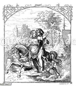 Junger Ritter reitet mit seiner Liebsten auf einem Pferd