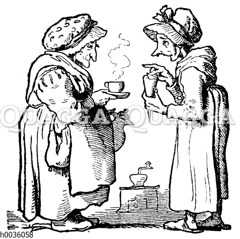 Zwei alte Damen mit Kaffee und Zuckertüte