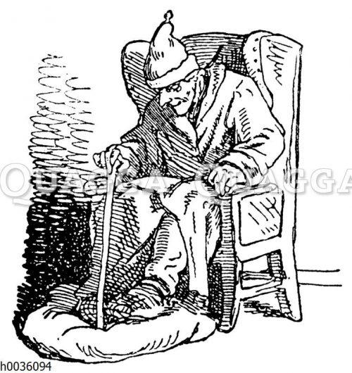 Alter Mann mit Krückstock und Schlafmütze im Ohrensessel