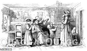 Bäuerliche Familie in der Bauernstube