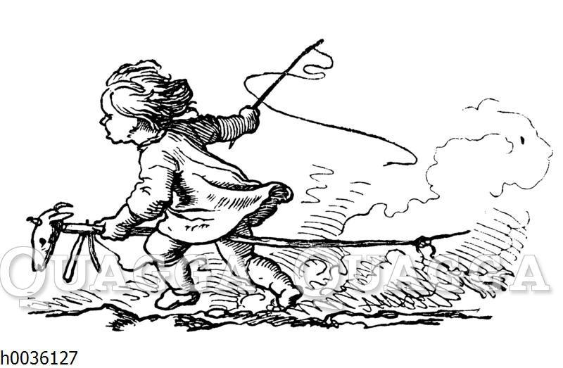Kind reitet auf Steckenpferd