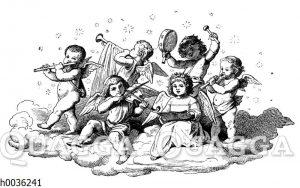 Engel musizieren auf einer Wolke
