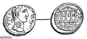 Kupfermünze des Tetrachen Philippus mit dem Porträt des Kaisers Tiberius