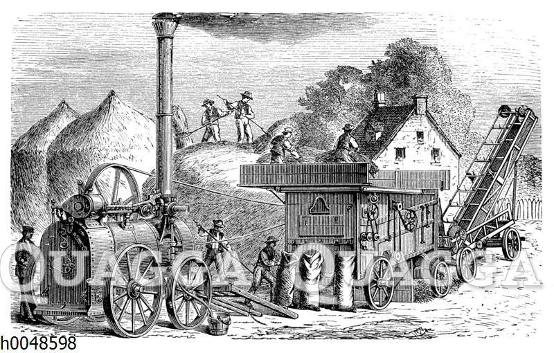 Dampfdreschmaschine mit Stakvorrichtung (Strohelevator)