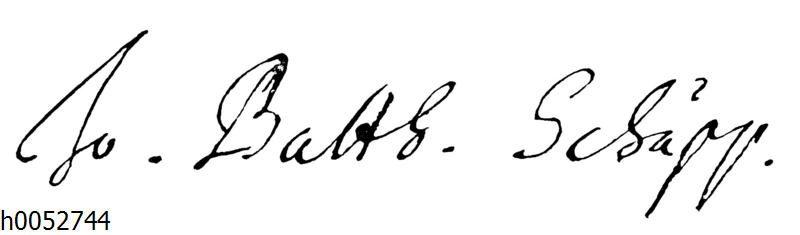 Jahann Balthaser Schupp: Autograph