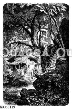 Wassermühle im Wald