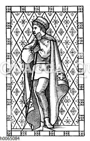 Vorlage für ein Bleiglasfenster: Mann mit Umhang