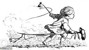 Kind auf einem Steckenpferd