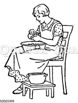 Frau beim Kartoffelschälen