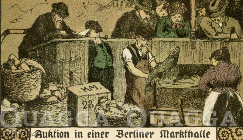 Fischauktion in einer Berliner Markthalle