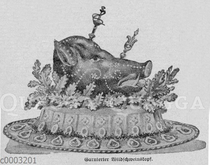 Garnierter Wildschweinskopf
