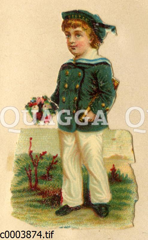 Junge im Matrosenanzug mit Blumenstrauß