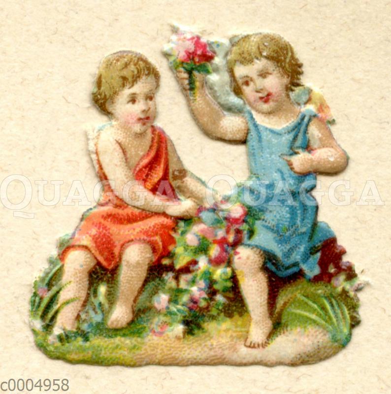 Glanzbild: Zwei Mädchen mit Blumen