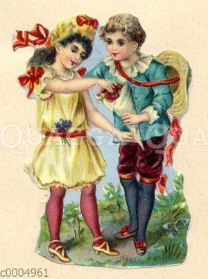 Glanzbild: Junge und Mädchen mit einer Tüte voller Kirschen