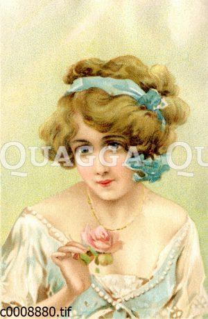 Junge Frau mit rosa Rose