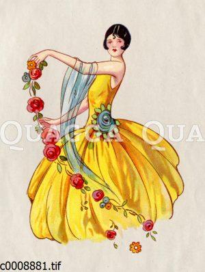 Tänzerin in gelbem Kleid mit Bubikopf