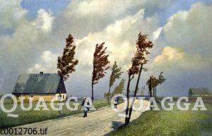 Zwei Frauen auf Straße bei Wind
