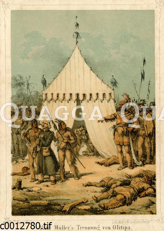 Indiander mit gefangenem Weißen