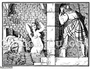 Meejungfrau im Bad wird von Mann beobachtet