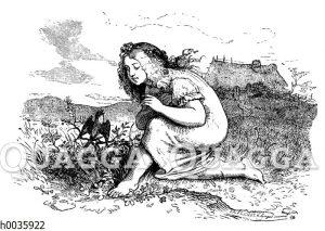 Mädchen mit Blumenkranz und Schwalbe