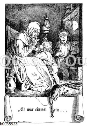 Alte Frau erzählt Kindern Märchen