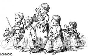 Zug von Kindern mit ihrem Spielzeug