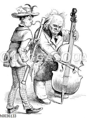 Straßenmusikanten mit Fagott und Kontrabass