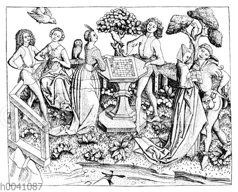 Eine Gesellschaft im Garten. Schachspiel. 15. Jahrhundert