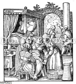 Deutsche Hebamme des 16. Jahrhunderts