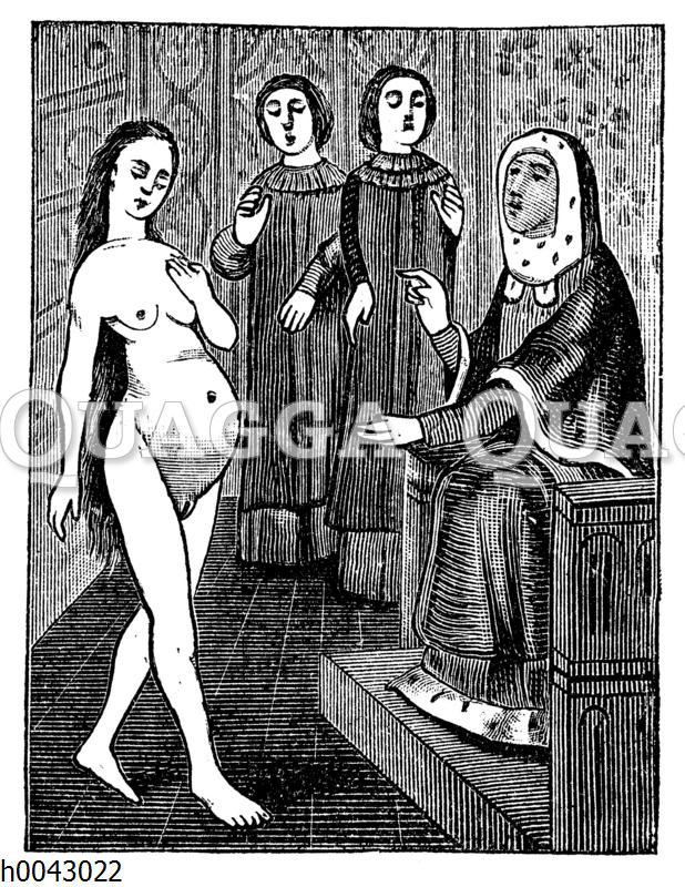 Unterricht in der Geburtshilfe. Miniatur aus dem 15. Jahrhundert